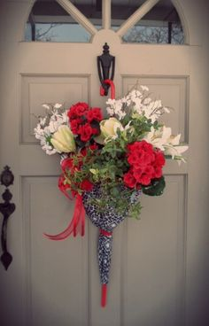Umbrella Wreath Door Hanger Decor April Showers Red White Black