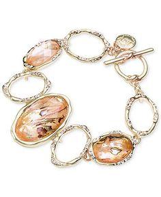 Jones New York Gold-Tone Oval Stone Toggle Bracelet - Fashion Jewelry - Jewelry & Watches - Macy's