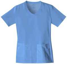 A V-neck top features soft knit side panels, four pockets, including one scissor pocket on left and cell phone pocket with tab snap closure on right. Center back length: 26""