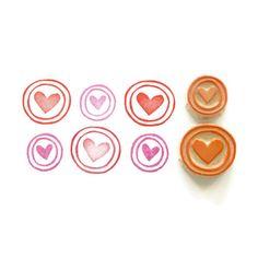 Circle Border Hearts- Hand Carved Rubber Stamp Set. $11.00, via Etsy.