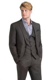 Dark Taupe Tweed Three-Piece Suit