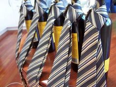 another groomsman gift idea: a nice bottle of wine or a fancy imported beer with a tie for the ceremony.
