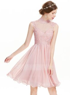 [US$ 119.99] A-Line/Princess High Neck Knee-Length Chiffon Cocktail Dress With Beading