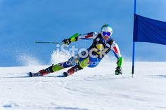 Front view of young skier at giant slalom race; at the blue gate Racing, Blue, Image, Auto Racing