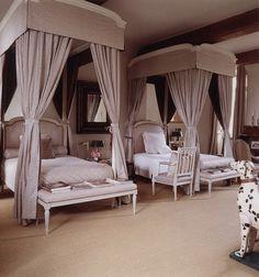 "Hubert de Givenchy - A guest bedroom in his Château du Jonchet - from the french book ""L'esprit des lieux"" by Christiane de Nicolaÿ-Mazery"