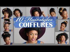 10 Hairstyles - 10 Coiffures simples sur cheveux bouclés / crépus - YouTube