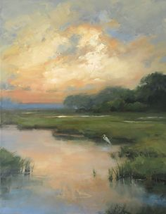 landscape paintings Marsh Light by jacki newell Oil ~ 28 x 22 Watercolor Landscape, Landscape Art, Landscape Paintings, Landscape Edging, Abstract Landscape Painting, Landscape Designs, Watercolor Artists, Abstract Oil, Landscape Lighting