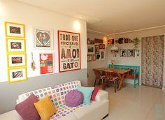 Projeto que fiz para a nossa salinha. Decor simples, coloridas e econômica! Tem mais no blog www.ateliecasademaria.com.br
