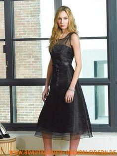 Schwarzes sexy schönes Abendkleid aus Organza Teelang
