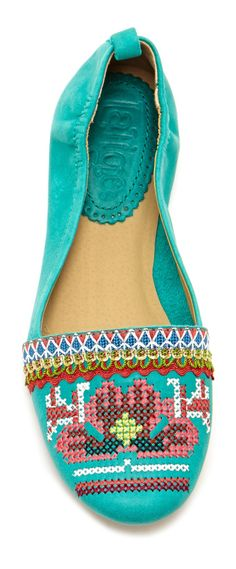 Turquoise | folk cross stitch moccasin | design detail