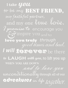 These were our wedding vows. Thought I had lost them when I deleted my wedding b… These were our wedding vows. Thought I had lost them when I deleted my wedding board, but managed to find them! Oh so happy to read them again, Before Wedding, Our Wedding, Dream Wedding, Wedding Ideas, Trendy Wedding, Wedding Stuff, Wedding Country, Wedding Rustic, Wedding Ceremony