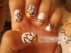 sunflower simple nail art, i shall ATTEMPT when the sunshine comes <3