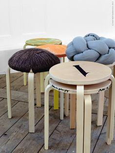 Stools   Multi Inspiration Numbering Them Would Be Easy And Fun. I Think I  Could Even Do The Crazy One On The Left With Twine/yarn/rope!