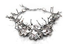 Wendy McAllister Necklace: Arctic Summer, 2014 Vitreous enamel, copper, oxidized sterling silver 21.9 x 21.9 x 6.3 cm