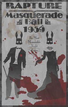 Bioshock Poster - Rapture Masquerade ball 1959 | splicers, blood, horror | under the sea | gaming poster, geek gamer #bioshock #bioshockPoster