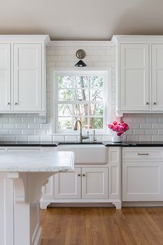 Kitchen With Beveled Subway Tiles Transitional Casa Verde Design