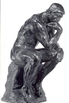 """Rodin, The Thinker (1880) One of the most famous sculptures in history, featured in his piece """"The Gates of Hell"""""""