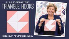 "Make a ""Half-Square Triangle Hooks"" Quilt with Jenny Doan of Missouri Star (Video Tutorial) Quilting Classes, Quilting Tips, Quilting Tutorials, Msqc Tutorials, Jenny Doan Tutorials, Missouri Quilt Tutorials, Half Square Triangle Quilts, Star Quilts, Quilt Blocks"