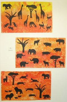 Use different size animals.place in background and foreground Animal Art Projects, Animal Crafts, Africa Safari Lodge, Afrique Art, African Crafts, Middle School Art, Art Lessons Elementary, African Animals, Jungle Animals