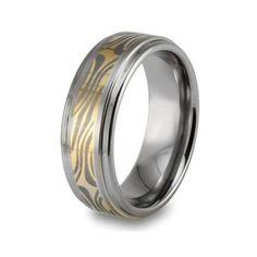 Tungsten Carbide Mokume Style Ring Size: 13: Jewelry: Amazon.com