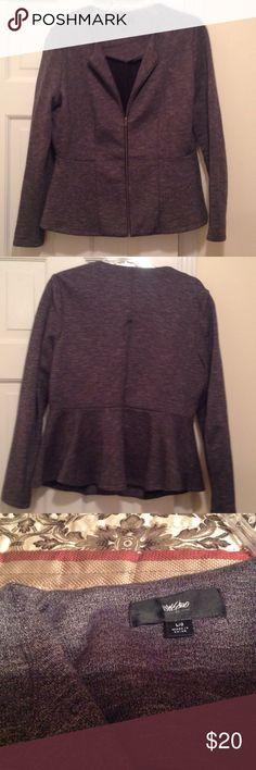 Mossimo grey zip front blazer jacket Mossimo gray zip front blazer jacket. Slight flare at fitted waist line. Not lined. Really cute! Mossimo Jackets & Coats Blazers