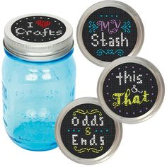 Organize your crafting supplies in canning jars and add these Crafts Jar Toppers by Dimensions. These designs in counted cross stitch also make a great gift for your crafting buddies. Create four different designs that fit standard or wide-mouth jar lids (not included). Counted cross stitch kit includes: • Presorted cotton thread • 14 count black Aida • Needle • Easy instructions
