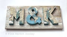3 Dimensional Map Letters on Reclaimed Wood - 22 Inches via Etsy