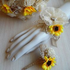 Sunflower Wedding Wrist Corsage and/or matching Boutonniere. Made to order.