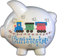 Hand Painted Personalized Large Ceramic Train Piggy Bank