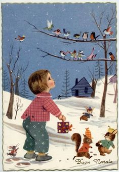 Best ideas for baby girl cards pictures Vintage Christmas Cards, Vintage Holiday, Vintage Cards, Vintage Postcards, Christmas Past, Christmas Pictures, Winter Christmas, Bird Illustration, Christmas Illustration
