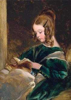 Study of Rachel (Lady Rachel Russell), half-length, in a green dress, reading a book (1835). Sir Edwin Henry Landseer, R.A. (English, 1802-1873). Oil on panel. This is an especially tender example of Lanseer's craft. In this case the subject, Lady Rachel Russell (1826-1898), may have had a special significance for Landseer. Rachel, the daughter of Georgina, the second wife of John, sixth Duke of Bedford, was rumored to have been Landseer's and the Duchess' child. http://books0977.tumblr.com/