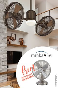 Receive a free Minka-Aire Retro II desk fan with select Minka-Aire ceiling fans plus free shipping! While Supplies Last  #sale #free #ceilingfans #homedecor #design #interior #deskfans #minkaaire #retro #homeimprovement