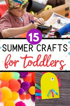 15 Summer Crafts for preschoolers that will keep them entertained all summer. You will love these screen free creative activities! Summer Crafts For Toddlers, Summer Activities For Kids, Creative Activities, Craft Activities, Preschool Crafts, Diy Crafts, Nanny Activities, Holiday Activities, Activity Ideas
