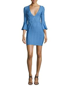 3/4+Flutter-Sleeve+Bandage+Dress,+French+Blue+by+Herve+Leger+at+Neiman+Marcus.