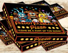Five Nights At Freddy's Pizza Box Label - Fnaf Birthday Party Favor - Fnaf Birthday - Fnaf Pizza- Fnaf Invitation-Fnaf Labels-Fnaf Topper 11th Birthday, 6th Birthday Parties, Birthday Party Favors, Birthday Ideas, Video Game Party, Five Nights At Freddy's, Party Supplies, Birthdays, Packaging