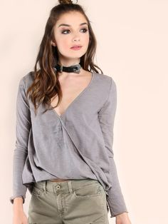 Shop Grey Striped V Neck Wrap Long Sleeve T-shirt online. SHEIN offers Grey  Striped V Neck Wrap Long Sleeve T-shirt   more to fit your fashionable needs . ad0fccd5f86