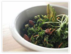 Kale salad with carrots, cucumber, nori sheets (shredded), avocado, scallions, cilantro, parsley, and tahini dressing (EVOO, tahini, lemon juice, garlic, rice vinegar, coconut aminos (or soy sauce), sesame oil, salt)