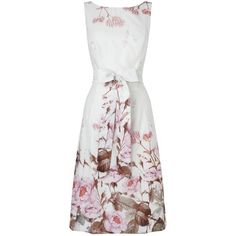 Phase Eight Chatsworth Floral Dress, Ivory ($220) ❤ liked on Polyvore