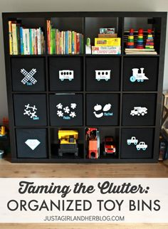 Taking the Clutter: Organized Toy Bins made with a Silhouette & Heat Transfer - such a great idea! | Just a Girl and Her Blog