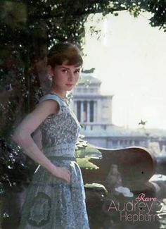 """Rare photo of Audrey Hepburn standing in front of the Vittoriano"""" in Rome's Piazza Venezia (thank you Luca Dotti) in Rome, Italy, 1955. She was there filming War and Peace."""