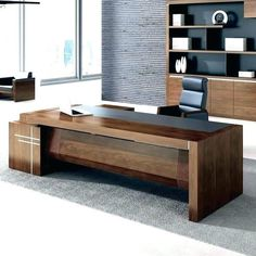 High gloss ceo office furniture luxury office table executive desk leather top - Luxury Living For You Modern Home Office Furniture, Modern Home Offices, Office Furniture Design, Office Interior Design, Home Office Decor, Office Interiors, Executive Office Furniture, Furniture Market, Furniture Online