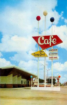 """Lamp Post Cafe - Hastings,Nebraska""   [Vintage Postcard - 1950s look at this great sign. Cafe gone since the early 1980s.]~[Photo by Vintage Roadside - October 19 2007]'h4d'"
