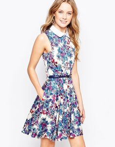 Closet Belted Floral Dress with Collar Detail