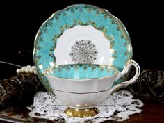 Cabinet Queen Anne Teacup, Aqua Footed Fine Bone China Tea Cup and Saucer