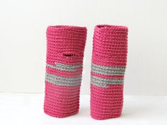 Wrist warmers - geometric fingerless gloves - wool - Raspberry and grey stripes from the YarnKitchen on etsy - love!