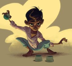 Indian Magician by Cecile C. Character Design Cartoon, Boy Character, Character Creation, Character Design References, Character Concept, Concept Art, Indian Illustration, Behance, Cartoon Sketches