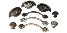 The Vineyard Series Decorative Cabinet Hardware Collection from Century Hardware includes standard sized pulls, cup pulls and matching knobs. This series features an elegant grape cluster design and is available in 3 finishes.