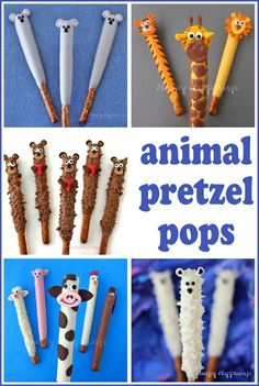 Chocolate dipped pretzels are delicious but they can be wildly fun when decorated like animals.See the recipes and instructions at HungryHappenings.com.#kidsfood #kidfriendlyrecipe #cutefoodforkids Christmas Cupcakes Decoration, Christmas Cake Pops, Kids Christmas, Kids Food Crafts, Edible Crafts, Kids Cooking Recipes, Kids Meals, Fun Recipes, Toddler Meals
