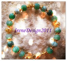Green Frosted Vein Agate & Gold from IreneDesign2011 by DaWanda.com