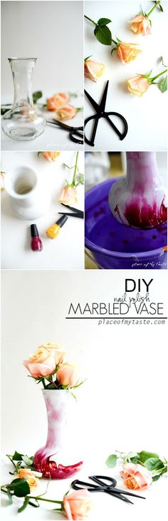 Say What? Nail Polish Marbled vase? So stunning and absolutely YOU CAN DO IT TOO!